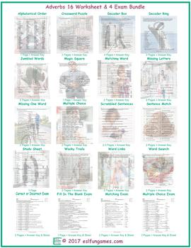 Adverbs 16 Worksheet- 4 Exam Bundle