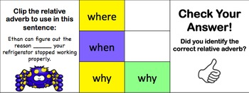 Relative Adverbs Task Cards (Clip and Flip)