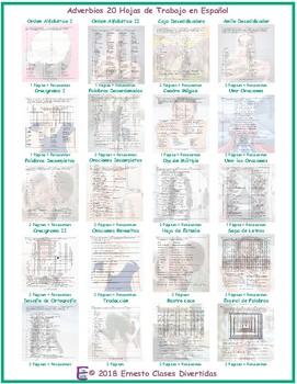 Adverbs 20 Spanish Worksheet Bundle