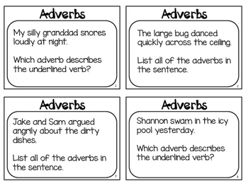 Adverbs Poster and Task Cards