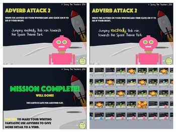 Adverbs Attack Worksheets / Activities + PPT Game Bundle