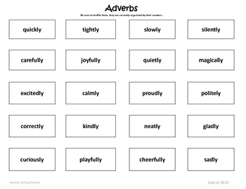 Adverbs: 2nd - 3rd Common Core Sorting Activity
