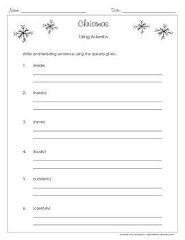 Adverbs - 3 Christmas-themed Worksheets - Grades 3-4 - CCSS