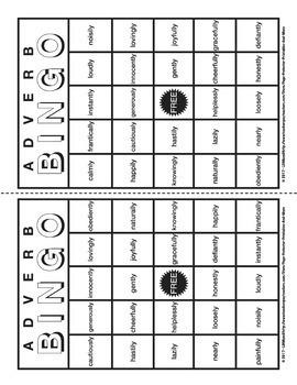 Adverbs Bingo