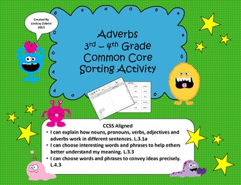 Adverbs: 3rd-4th Grade Common Core Sorting Activity