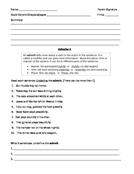 Adverbs: 5 Nights of Homework