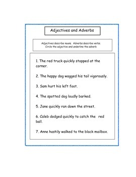 Adverbs, Adjectives, Nouns and Verbs