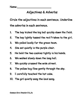 Adverbs & Adjectives Worksheet for Common Core ELA