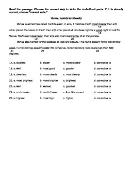 Adverbs Assessment
