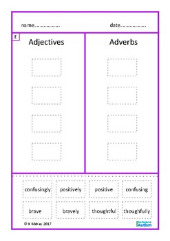 Adverbs Cut Paste Autism Special Education