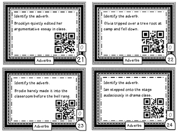 Adverbs Differentiated Task Cards with QR Codes grades 6-8