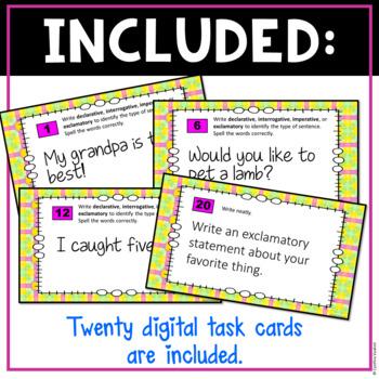 Types of Sentences Digital Task Cards  for Google Slides