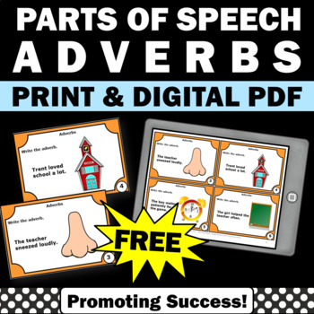 FREE Speech Therapy Adverbs Task Cards, ESL Adverbs Activities 1st 2nd Grade