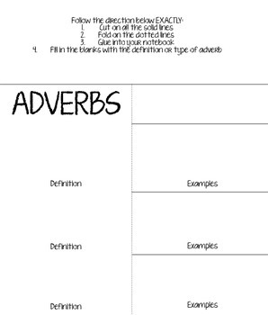 Adverbs Foldable!