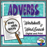 Adverbs Word Search & Grammar Worksheets TPT Digital Activ