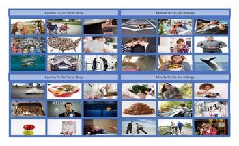 Adverbs Legal Size Photo Tic-Tac-Toe-Bingo Game