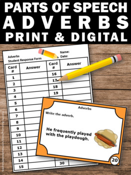 Adverb Task Cards, Parts of Speech SCOOT, ESL Activities & Games