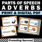 Adverb Task Cards, Elementary ESL Grammar, Literacy Centers 3rd Grade