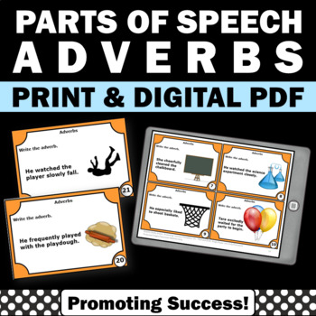Adverb Task Cards, Grammar Practice, Adverbs Activities & Games