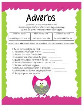 Adverbs Owl Worksheet
