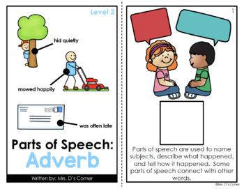 Adverbs Parts of Speech Adapted Book [Level 1 and Level 2] | Adverb