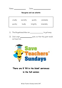 Adverbs PowerPoint, Worksheet, List of Adverbs and Lesson Plan