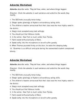 Adverbs Practice Worksheet