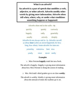 Adverbs Quick Reference Sheet