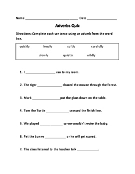 Adverbs Quiz