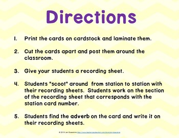 Adverbs Grammar SCOOT or Task Cards