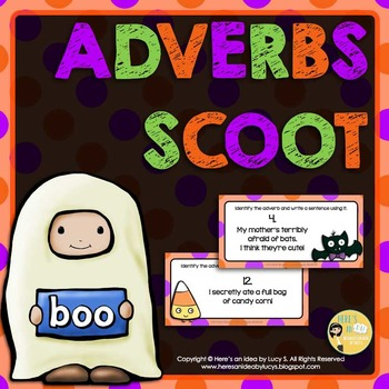Halloween Adverbs SCOOT - task cards