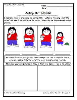 """Adverbs Song and a Sheet: """"Andy the Actor"""" (Lesson Plans Included)"""