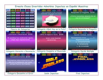 Adverbs Spanish Jeopardy Game