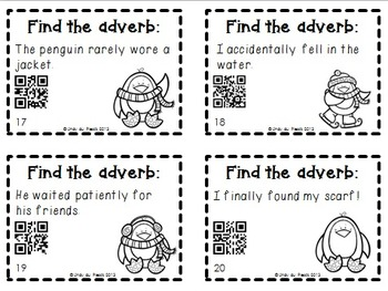Adverbs Task Cards & QR Codes Penguin Theme