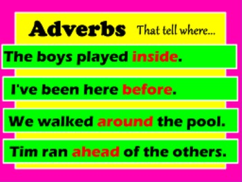 Adverbs That tell when or where FLIPCHART 2 pack