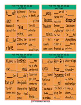 Adverbs Tic-Tac-Toe or Bingo Game