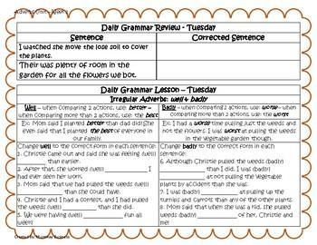 Grammar Warm-Ups & Lessons Adverbs Unit - Week 2