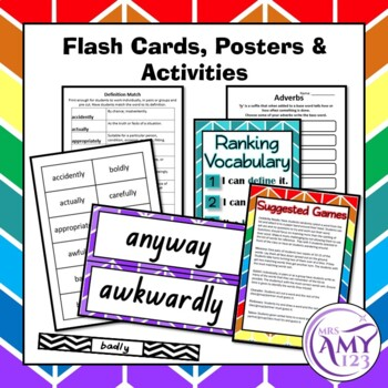 Adverbs Vocabulary Pack- Word Lists, Flash Cards & Activities
