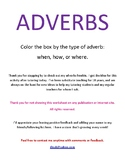 Adverbs - Where, When, and How color in the boxes