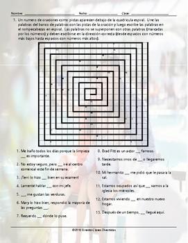 Adverbs Word Spiral Spanish Worksheet