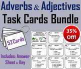 Adverbs and Adjectives Task Cards Bundle 3rd 4th 5th Grade