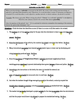 Adverbs and How They're Assessed on Standardized Tests Worksheet