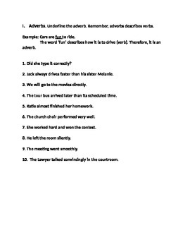Adverbs for 4th Grade