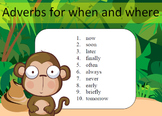 Adverbs for when and where Word Work Packet–10 words, no prep packet, 50+ pages