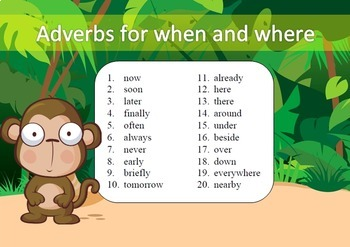Adverbs for when and where Word Work Packet – 20 words, 70 pages of no prep work