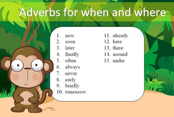 Adverbs for when and where Word Work Packet–15 words, no prep packet, 60+ pages