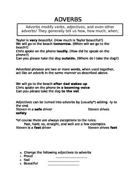 Adverbs lesson and worksheet