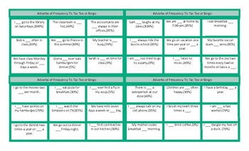 Adverbs of Frequency & Frequency Expressions Tic-Tac-Toe or Bingo Game