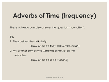Adverbs of Time - NAPLAN: Year 3