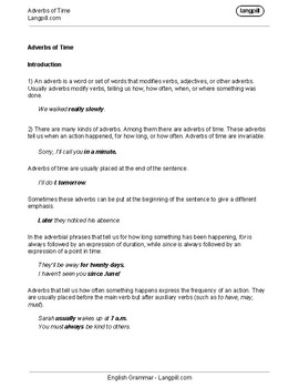 Adverbs of Time Worksheet